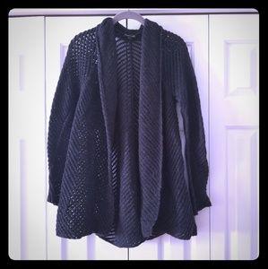 Eileen Fisher Charcoal open weave cardigan M